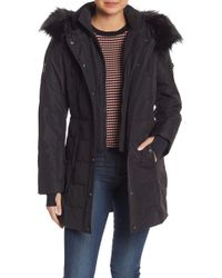 Nautica - Faux Fur Hooded Puffer Jacket - Lyst