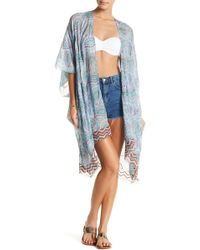 Spun By Subtle Luxury - Embroidered Stitched Paisley Print Kimono - Lyst