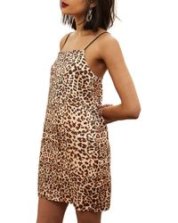 TOPSHOP - Leopard Mini Slipdress - Lyst