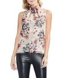 Vince Camuto - Blooms Smocked Ruffle Neck Crinkle Blouse - Lyst