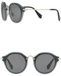 8a5fd27c5b Lyst - Miu Miu Rectangle 67mm Acetate Frame Sunglasses in Brown