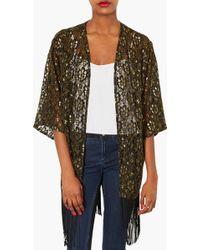 TOPSHOP - Fringe Metallic Lace Kimono - Lyst