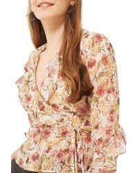 TOPSHOP | Floral Print Frilled Wrap Top | Lyst