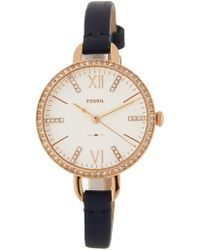 Fossil - Women's Annette Crystal Accented Leather Strap Watch, 30mm - Lyst