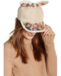 Cara - Bunny Ear Eyelash Knit Ball Cap - Lyst