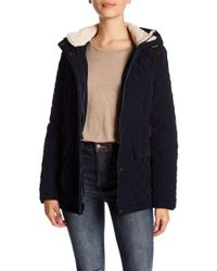 Laundry by Shelli Segal - Faux Shearling Quilted Hooded Jacket - Lyst
