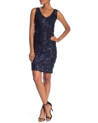 Marina - Sleeveless Embroidered Sequin Accent Dress - Lyst