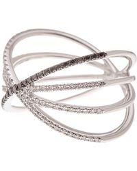 EF Collection - 14k White Gold White & Black Diamond Sunburst Fade Ring - Size 6 - 0.30 Ctw - Lyst