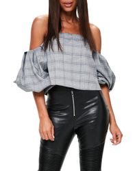 Missguided - Puffball Sleeve Off The Shoulder Top - Lyst