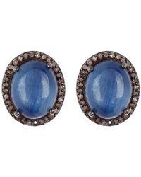 Adornia - Oval Kyanite Diamond Halo Stud Earrings - Lyst