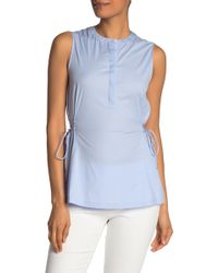 Theory Sleeveless Side Tie Blouse - Blue