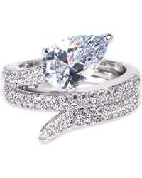 Kenneth Jay Lane - Prong Set Pear Cz & Pave Wrapped Ring - Lyst