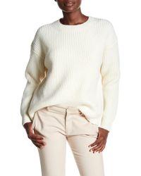 Vince - Wool Blend Half Cardigan Crew Sweater - Lyst