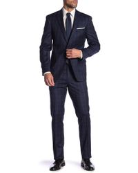 Tommy Hilfiger - Lowen Navy White Grid Two Button Notch Lapel Wool Slim Fit Stretch Suit - Lyst