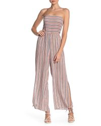 Mustard Seed - Strapless Striped Jumpsuit - Lyst