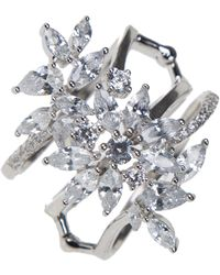 CZ by Kenneth Jay Lane - Cz Stacked Flower Ring - Lyst