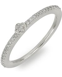 Bony Levy - 18k White Gold Pave Diamond Station Stackable Ring - 0.12 Ctw - Lyst