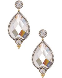 Freida Rothman - 14k Gold Plated Sterling Silver Gala Pave Cz Framed Facet Teardrop Earrings - Lyst