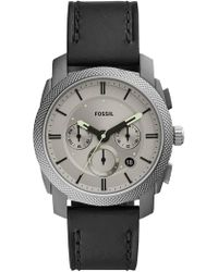Fossil - Men's Machine Medium Round Leather Strap Watch, 42mm - Lyst