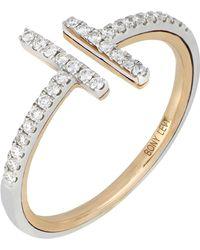 Bony Levy - 18k White & Rose Gold Linear Diamond Cuff Ring - 0.29 Ctw - Lyst