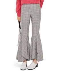 TOPSHOP - Checked Super Flare Trousers - Lyst