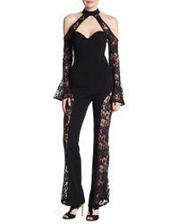 Wow Couture - Lace Trim Cold Shoulder Jumpsuit - Lyst