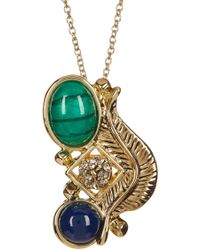 House of Harlow 1960 - Bezel Set Malachite & Lapis Resin Crystal Cluster Pendant Necklace - Lyst