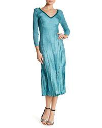 Komarov - Sequins Trimmed V-neck 3/4 Sleeve Dress - Lyst