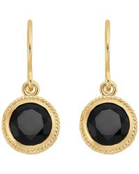 Anna Beck - 18k Gold Plated Sterling Silver Black Onyx Stone Button Drop Earrings - Lyst