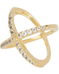 Elizabeth and James - Windrose Pave White Topaz Crisscross Ring - Size 8 - Lyst