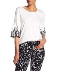 Adrianna Papell - Embroidered Bell Sleeve Blouse - Lyst