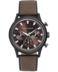 Vince Camuto - Men's Faux Leather Strap Watch, 43mm - Lyst