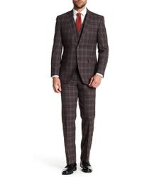 English Laundry - Brown Tartan Two Button Notch Lapel Vested Wool Suit - Lyst