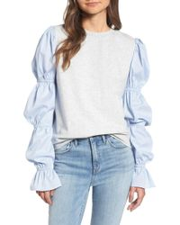 Treasure & Bond - X Something Navy Poplin Sleeve Sweatshirt - Lyst