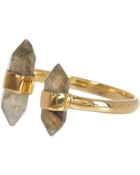 Argento Vivo - 18k Gold Plated Sterling Silver Faceted Stone Open Ring - Size 6 - Lyst