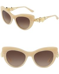 3caa0c9bcec7 Burberry Women s 57mm Heritage Gabardine Lace Round Sunglasses in ...