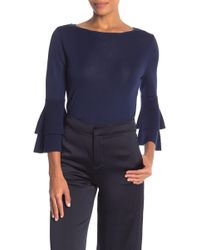 Anne Klein - Double Flare Sleeve Boatneck Sweater - Lyst