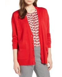 Halogen - (r) V-neck Merino Wool Cardigan (regular & Petite) - Lyst