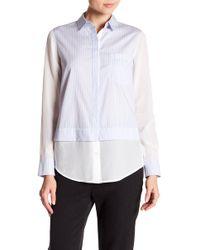 Vince   Striped Block Silk Trim Shirt   Lyst