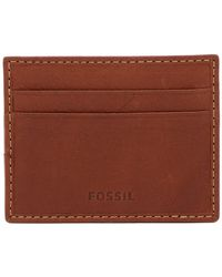 Fossil - Lufkin Vert Leather Card Case - Lyst