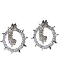 CZ by Kenneth Jay Lane - Cz Spike Small Double Hoop Earrings - Lyst