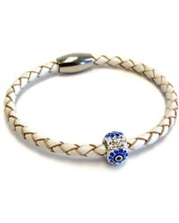Liza Schwartz - Single Evil Eye White Premium Leather Bracelet - Lyst