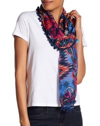 Roffe Accessories | Very Floral Pompom Scarf | Lyst