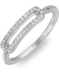 Bony Levy - 18k White Gold Pave Diamond Cutout Bar Ring - 0.16 Ctw - Lyst