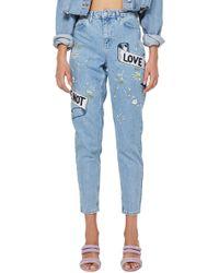 TOPSHOP - Moto Bleach 'love Me' Mom Jeans - Lyst