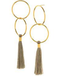 Gorjana - Carmen 18k Gold Plated Double Hoop & Tassel Drop Earrings - Lyst