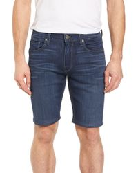 PAIGE - Transcend - Federal Slim Straight Leg Denim Shorts (leo) - Lyst