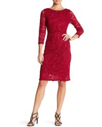 Marina - Stretch Sparkle Lace Dress - Lyst