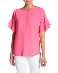 Pleione - Crepe Double Ruffle Sleeve Top - Lyst