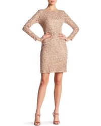 Marina - Long Sleeve Lace Sequin Dress - Lyst